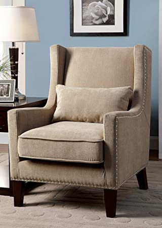 Furniture of America Aiza Contemporary Upholstered Wingback Accent Chair, Ivory