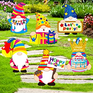 luck sea 6PCS Happy Birthday Decorations Gnomes Yard Signs Stakes - Bday Lawn Outdoor Party Decor Idea Supplies Ornaments