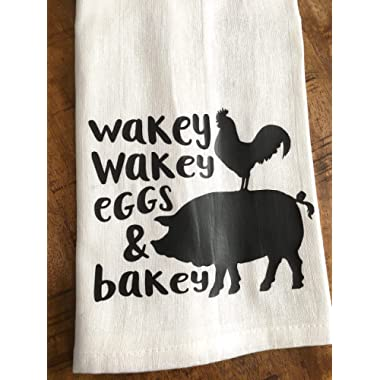 Funny Kitchen Towel Eggs and Bacon Farmhouse Tea Towel