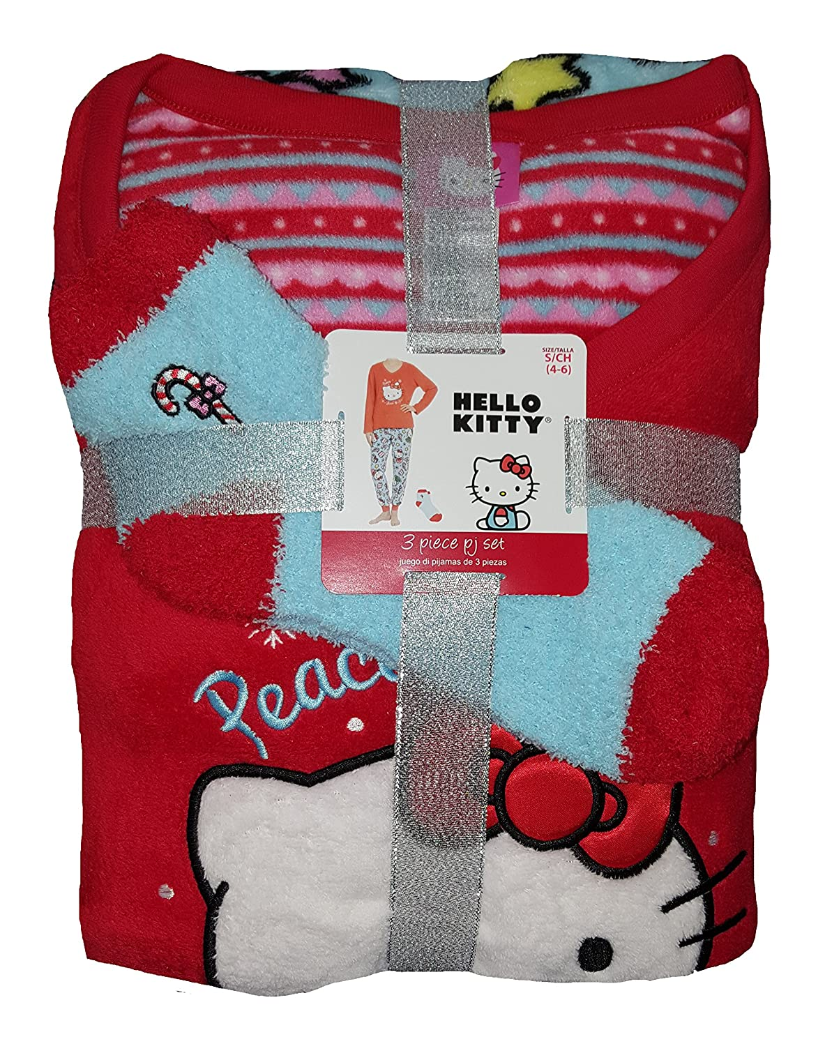 Sanrio Hello Kitty Red 3 Piece Fleece Pajama Sleep Set w/Socks at Amazon Womens Clothing store: