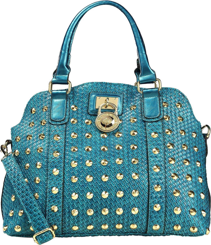 Arcadia Decorous Blue Woven Handbag With Round Lock SU4328-BL