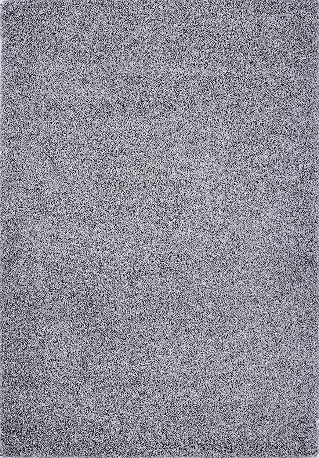 Pierre Cardin Luxury Shag/Flokati Collection Trellis Rug Design Abstract Area Rugs for Living Room Carpets (8' x 10', Gray)