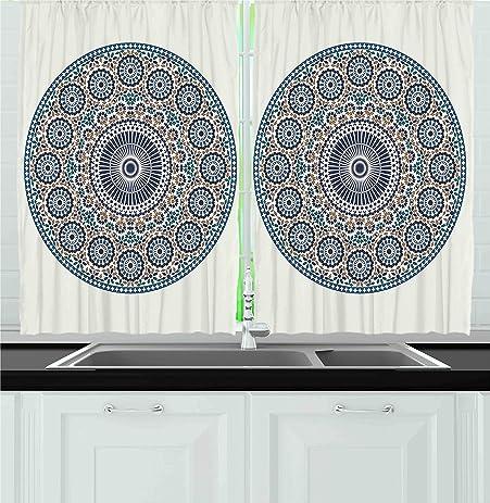 Ambesonne Kitchen Decor Collection, Antique Arabic Mosaic Circular Pattern  Round Design Ornamental Print Vintage Style