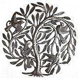 """Leaving the Nest Garden Tree of Life, Haitian Metal Art, Steel Drum, Outdoor, Indoor Decor 15"""" X 15"""""""