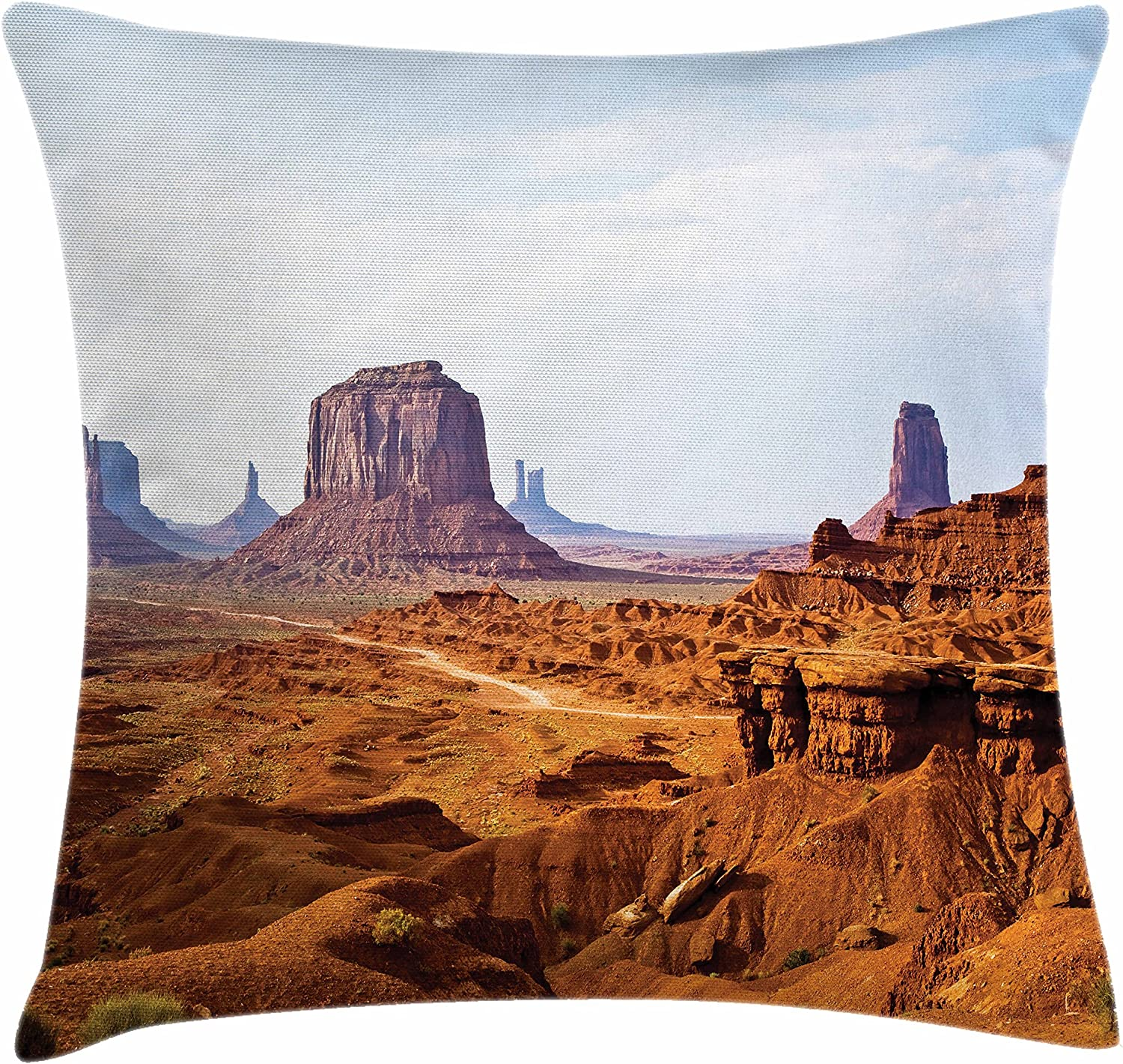 Amazon Com Ambesonne Desert Throw Pillow Cushion Cover Monument Valley View From John Fords Point Merritt Butte Sandstone Image Decorative Square Accent Pillow Case 18 X 18 Baby Blue Mauve Amber Home