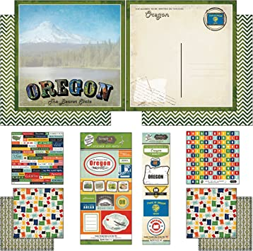 Scrapbook Customs Themed Paper and Stickers Scrapbook Kit 12 x 12 Oregon Vintage