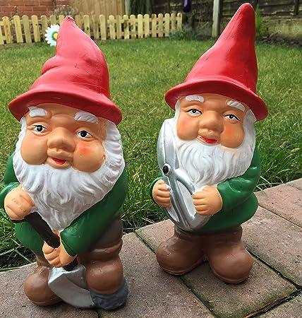 Juego de 2 de cerámica pintado a mano tradicional gnomo de jardín adornos con rojo sombreros: Amazon.es: Jardín