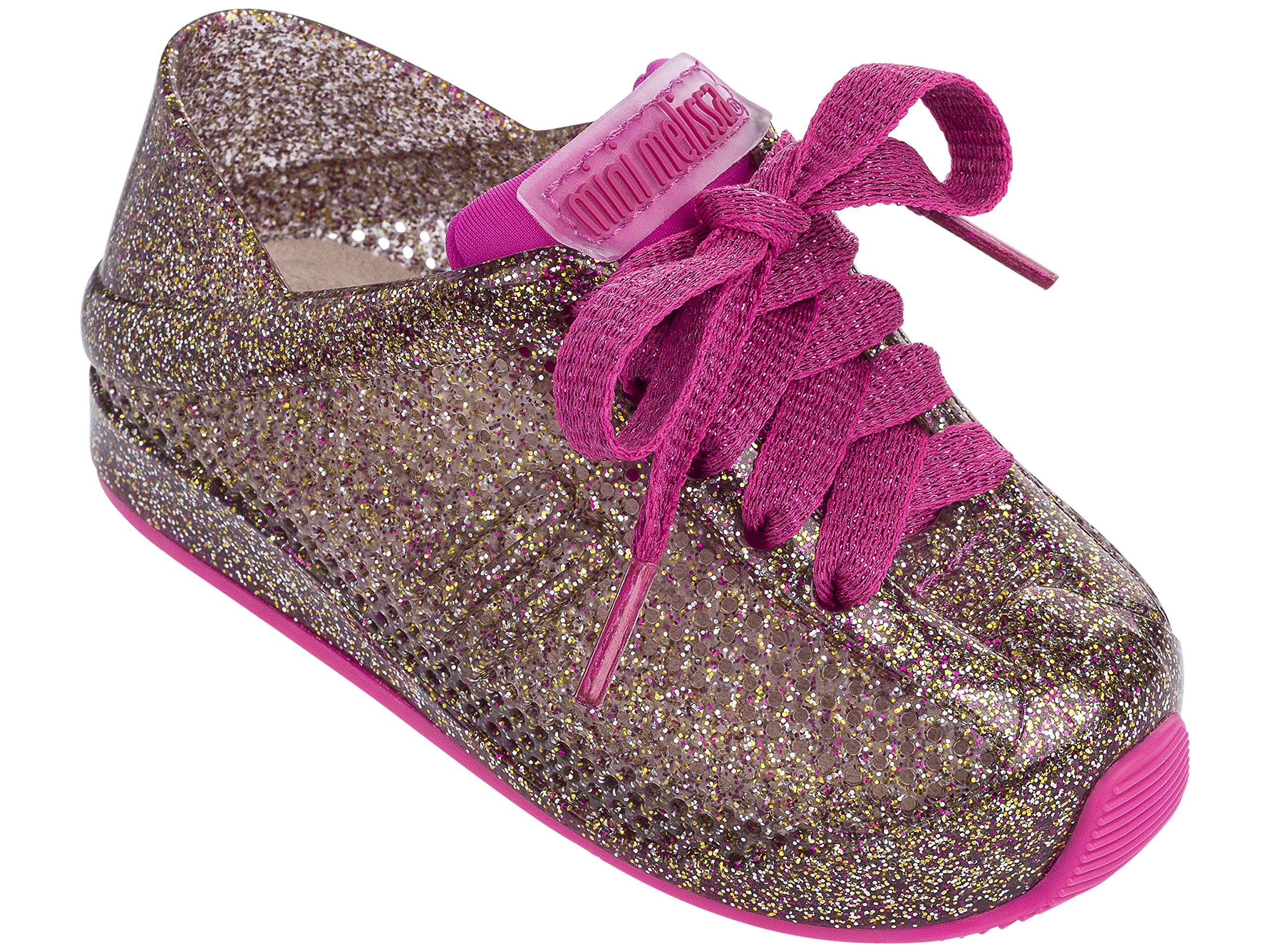 Mini Melissa Kids' Mini Love System Sneaker,Glass Pink Glitter,11 Regular US Little Kid