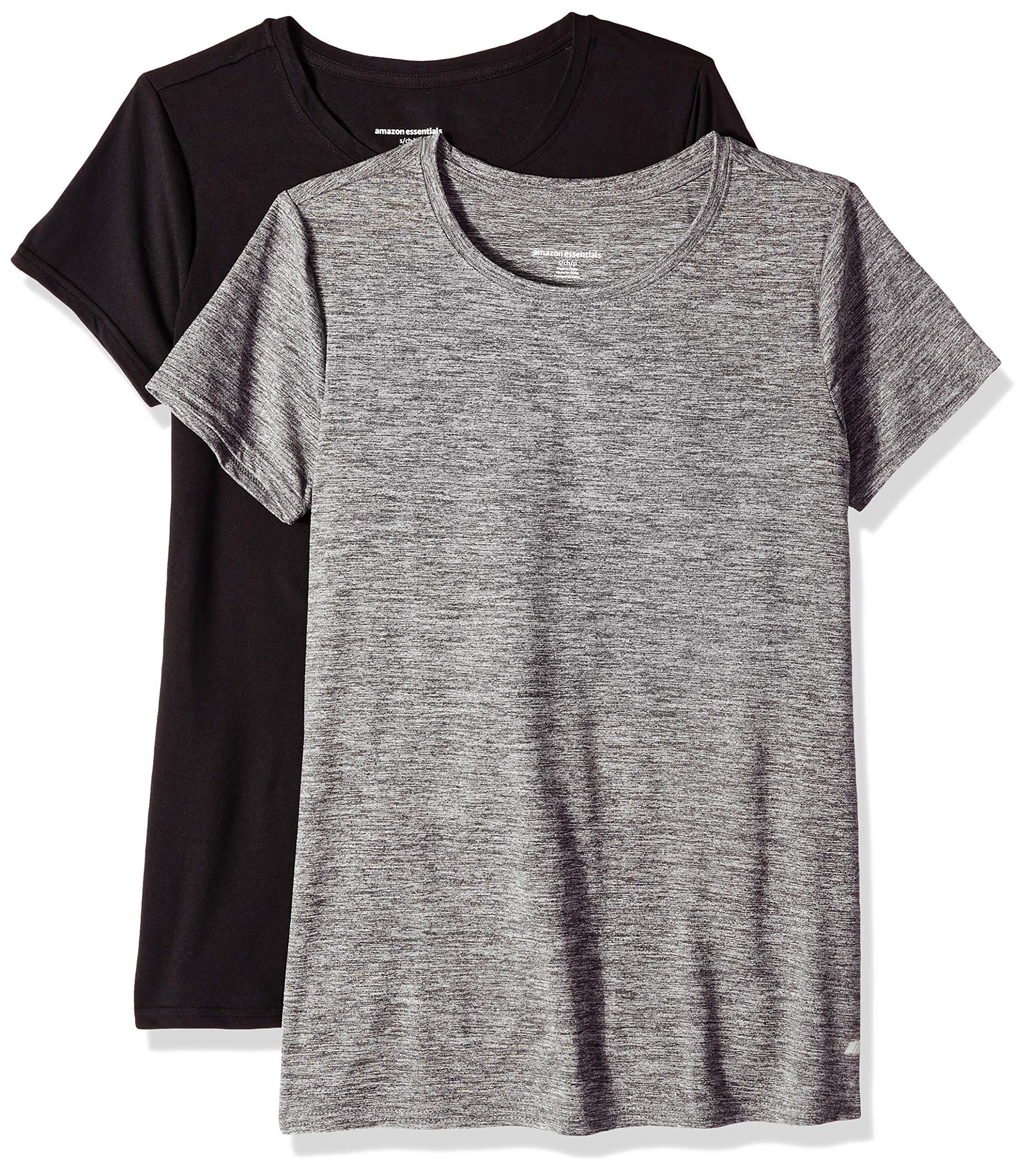 Amazon Essentials Women's 2-Pack Tech Stretch Short-Sleeve Crewneck T-Shirt, -black space dye/black, X-Small