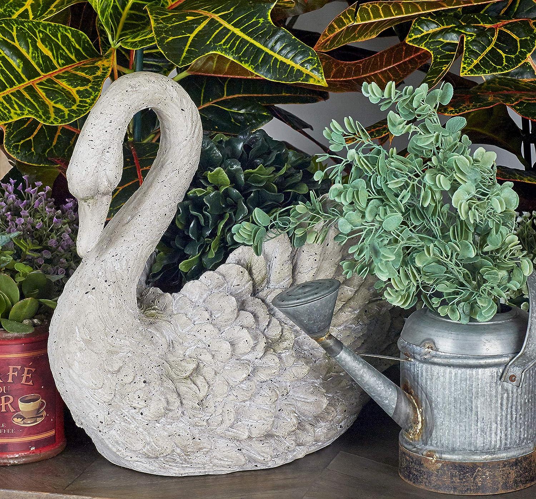 """Deco 79 Benzara 79984 Polystone Swan Vase 18"""" W, 15"""" H, Gray"""