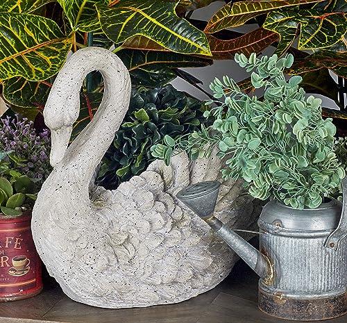 Deco 79 Benzara 79984 Polystone Swan Vase 18 W, 15 H, Gray