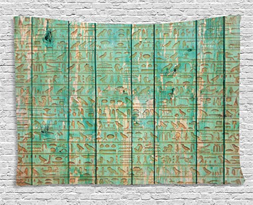 Ambesonne Egypt Tapestry, Hieroglyphs Icons on Wooden Board Mystic Egyptian Mummy Motherland Culture Image, Wide Wall Hanging for Bedroom Living Room Dorm, 60 X 40 , Seafoam