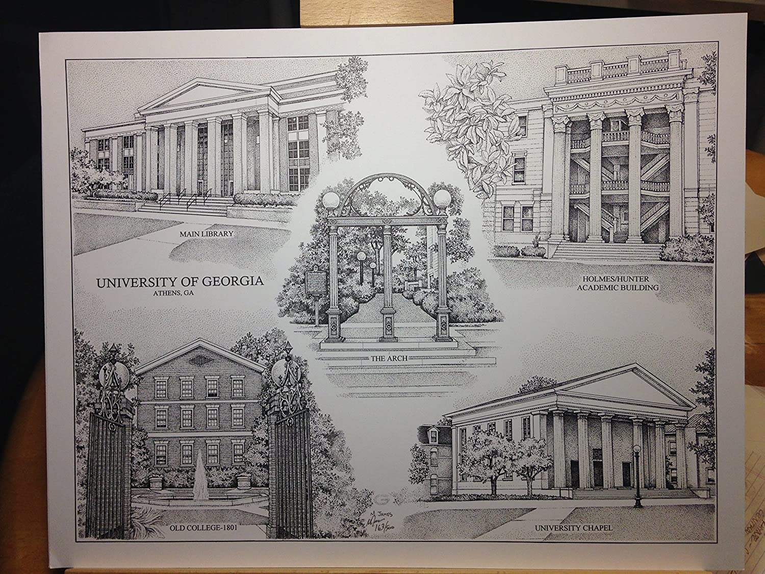University of Georgia 14x18 pen and ink collage print