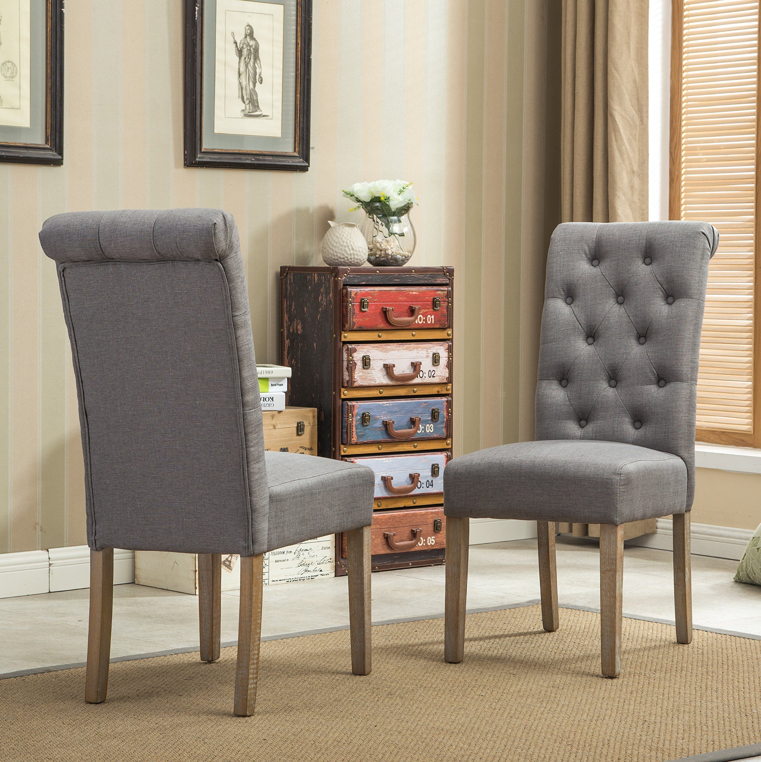 Roundhill Furniture Habit Grey Solid Wood Tufted Parsons Dining Chair (Set of 2), Gray by Roundhill Furniture (Image #4)