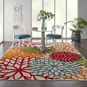 """Nourison Aloha ALH05 Indoor/Outdoor Floral Green 7'10"""" x 10'6"""" Area Rug (8'x11')"""