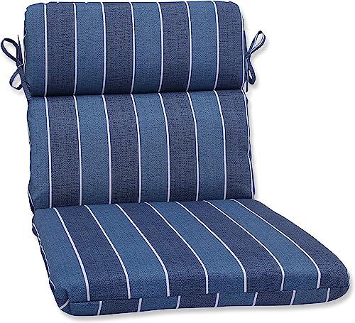 Pillow Perfect 568492 Outdoor Indoor Wickenburg Indigo Round Corner Chair Cushion, 40.5 x 21 , Blue