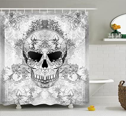 Ambesonne Day of The Dead Decor Shower Curtain, Skull with Oriental Paisley Decor Festive Celebration