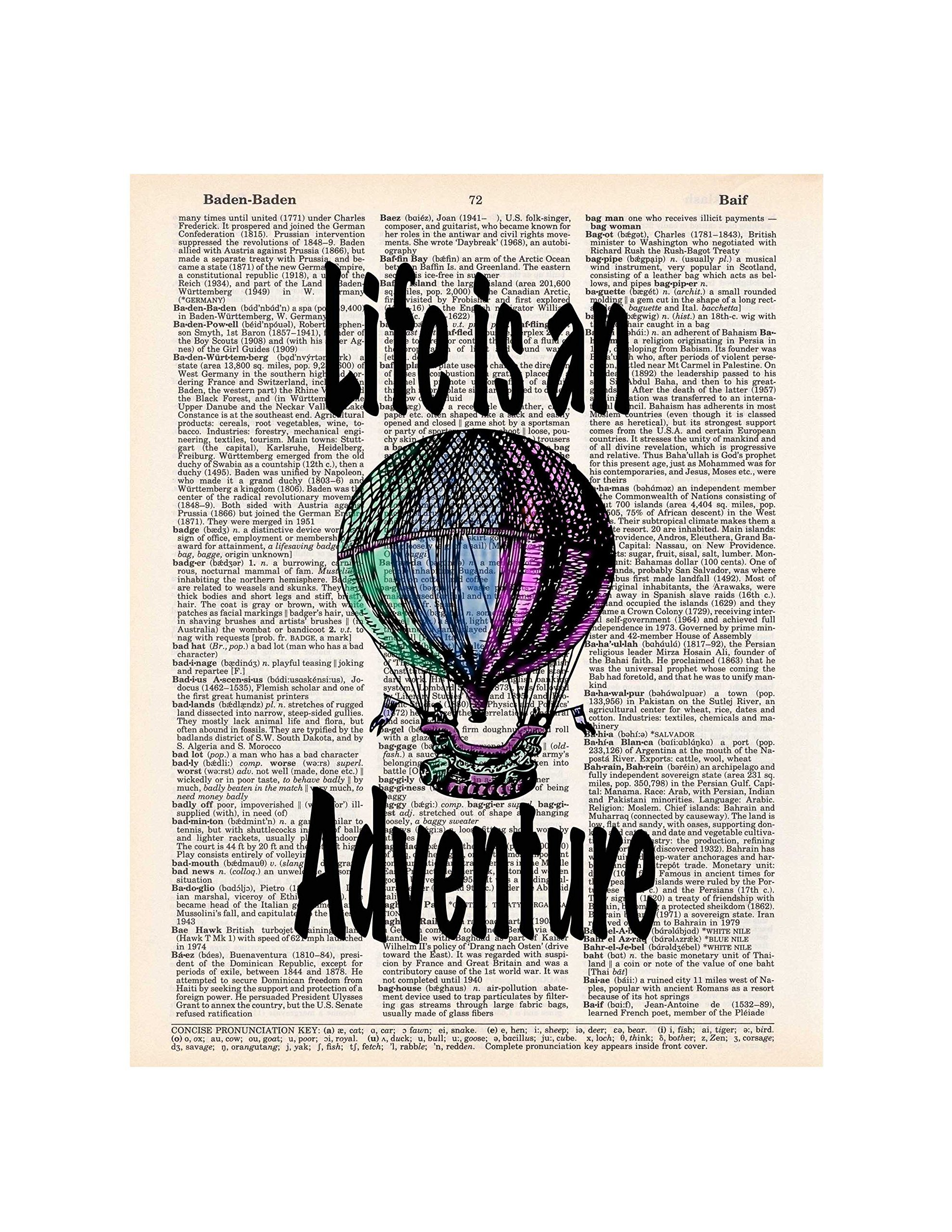 Hot Air Balloon, Life is an Adventure, Travel Wall Art, Dictionary Page Photo Print, 8x10, Unframed 3