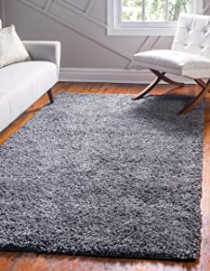 Unique Loom Davos Shag Collection Contemporary Soft Cozy Solid Shag Peppercorn Area Rug (4' 0 x 6' 0)