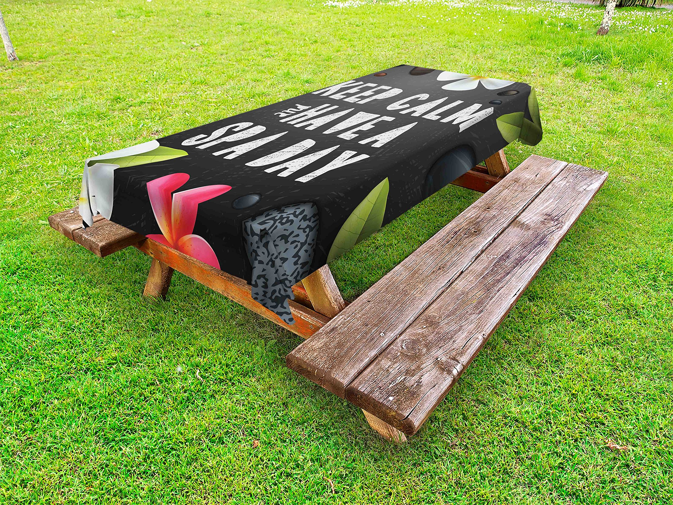 Ambesonne Zen Outdoor Tablecloth, Keep Calm Have a Spa Day Quote Healthcare and Beauty Treatment Graphic Stones Flowers, Decorative Washable Picnic Table Cloth, 58 X 120 inches, Multicolor