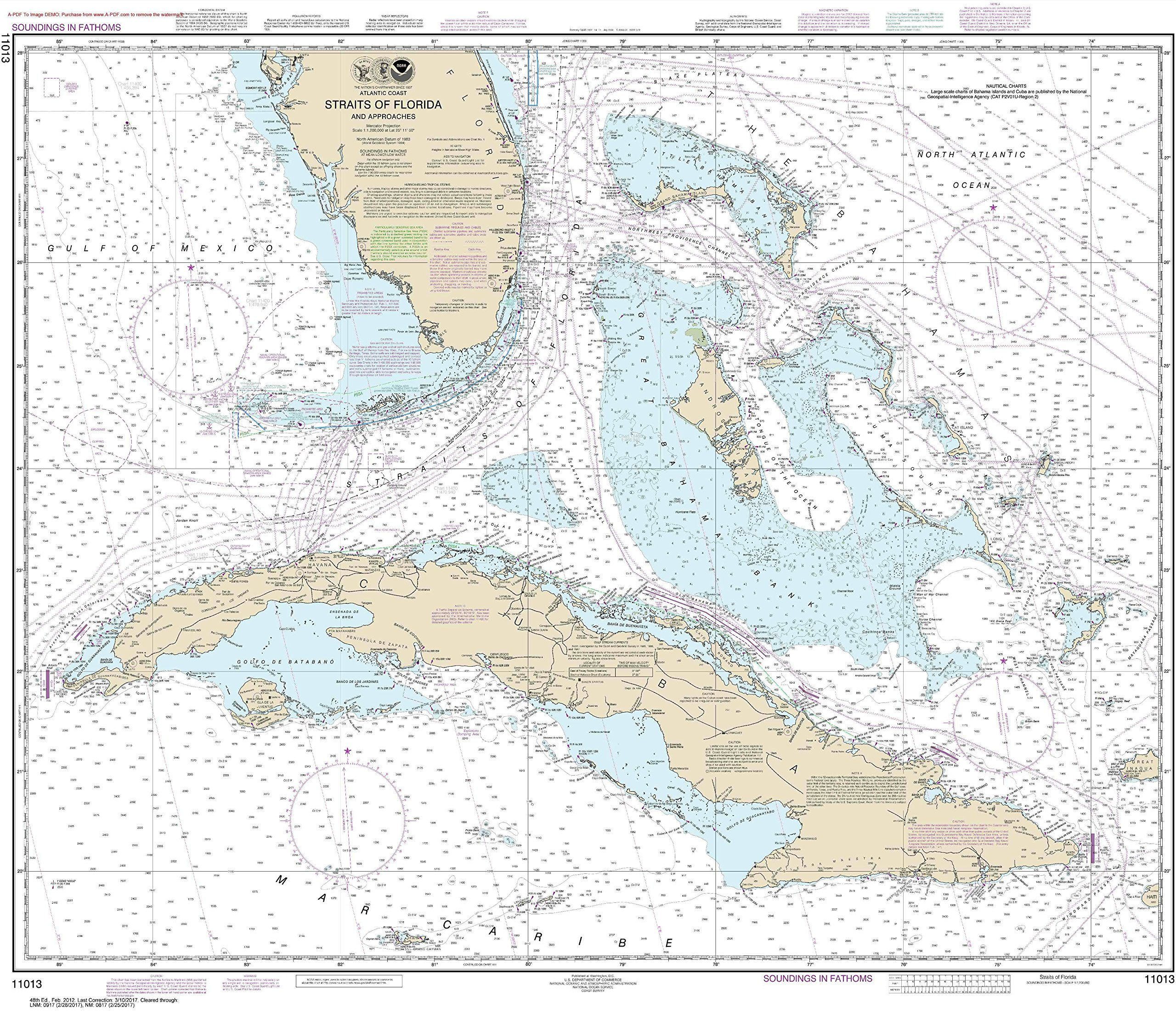 NOAA Chart 11013 Straits of Florida and Approaches: 35.7'' X 41.4'' Laminated Map