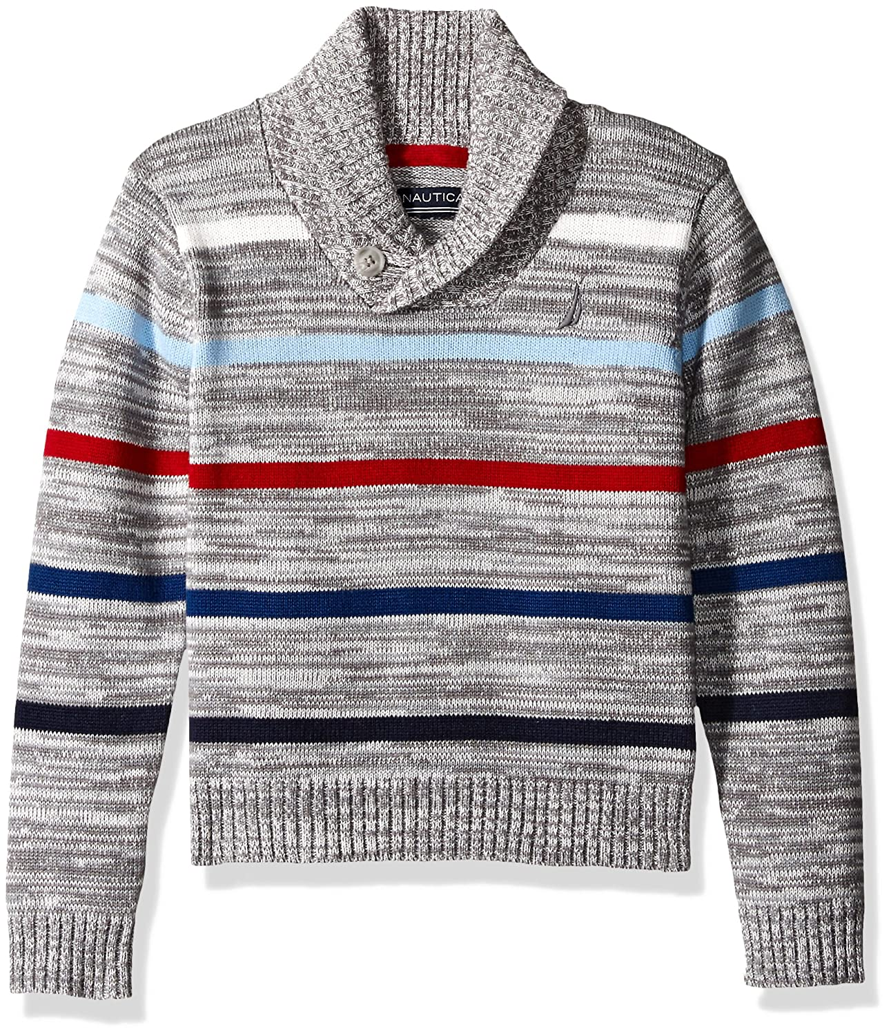 Nautica boys Shawl Collar 'Merry Mariner' Striped Sweater With Button Closure N211172Q
