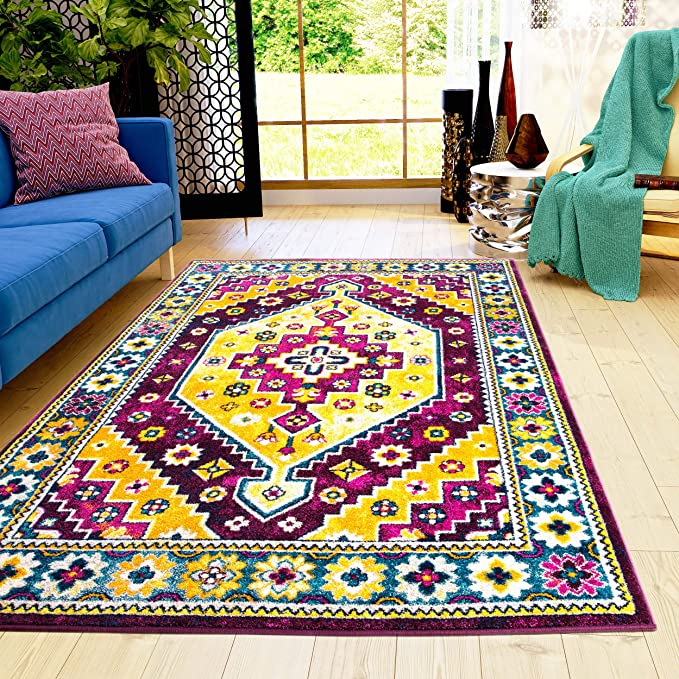 Super Area Rugs Litchfield Traditional Medallion Area Rug Purple And Yellow 5 3 X 7 3 Furniture Decor
