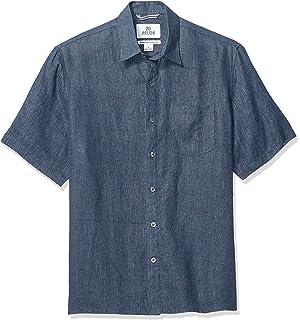 Marca Amazon – 28 Palms – Camisa de lino 100 % de manga corta para hombre, Rojo (Nantucket Red), US L (EU L): Amazon.es: Ropa y accesorios