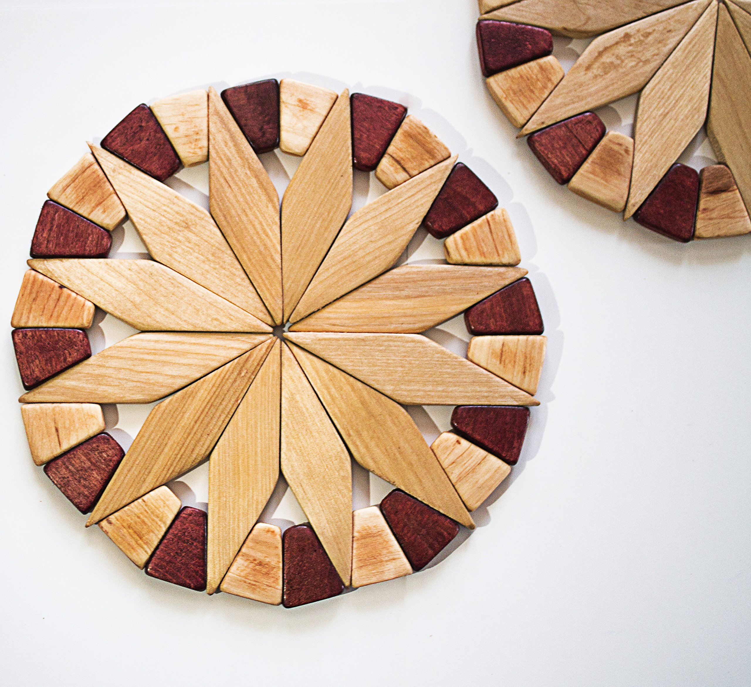 Natural Wood Trivets For Hot Dishes - 2 Eco-friendly, Sturdy and Durable 7'' Kitchen Hot Pads. Handmade Festive Design Table Decor - Perfect Kitchen Gifts Idea. by ECOSALL (Image #8)