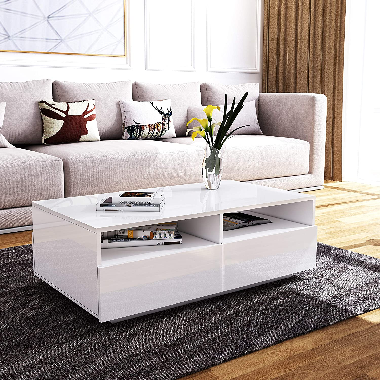 4 Storage Drawers With Open Case Modern White High Gloss Coffee