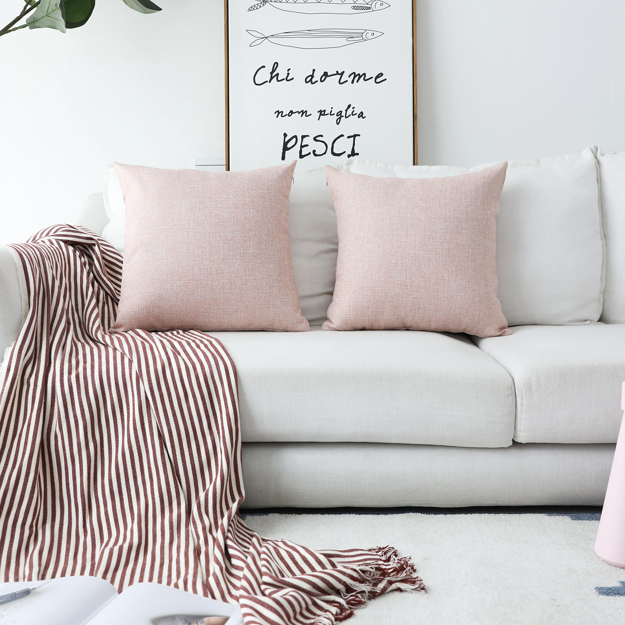 HOME BRILLIANT Decorative Pillows Covers Lined Linen Cushion Covers for Bed, Set of 2, 18x18 inches, Baby Pink by HOME BRILLIANT