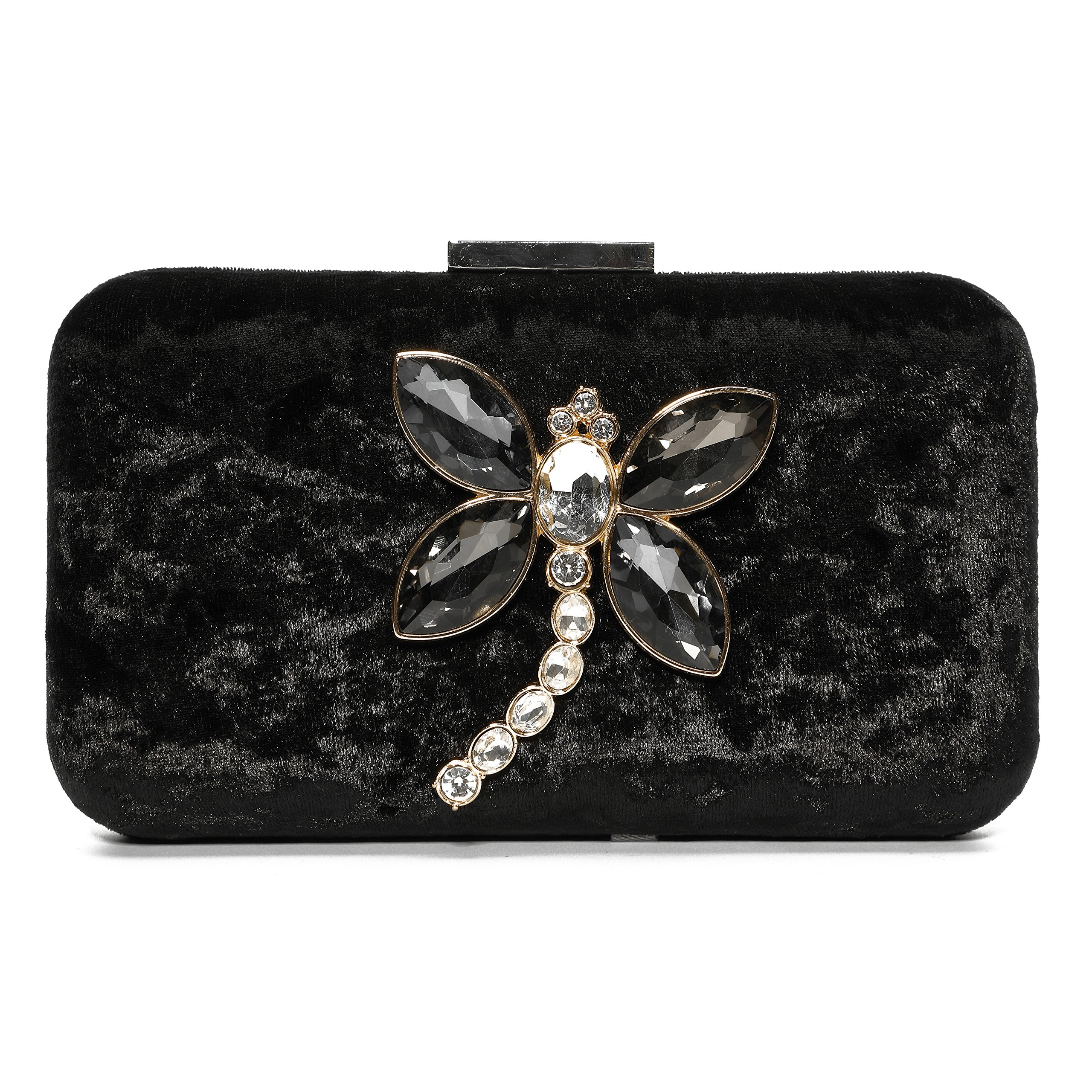 Ali Victory Noble Velvet Colored Diamond Evening Clutch for Women Purse (Black)
