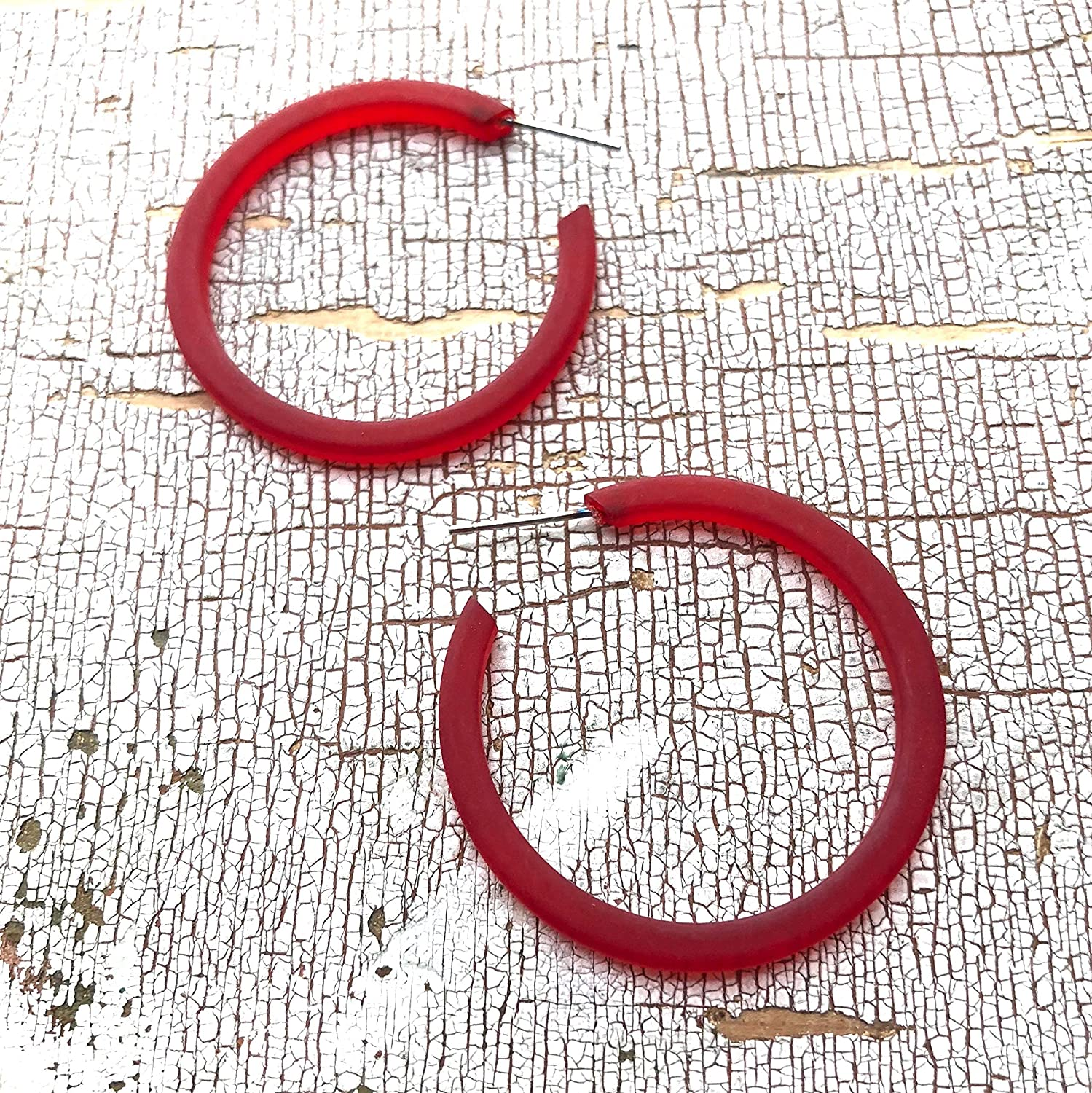 vintage frosted thread thin classic lucite hoop earrings Cherry Red Hoop Earrings