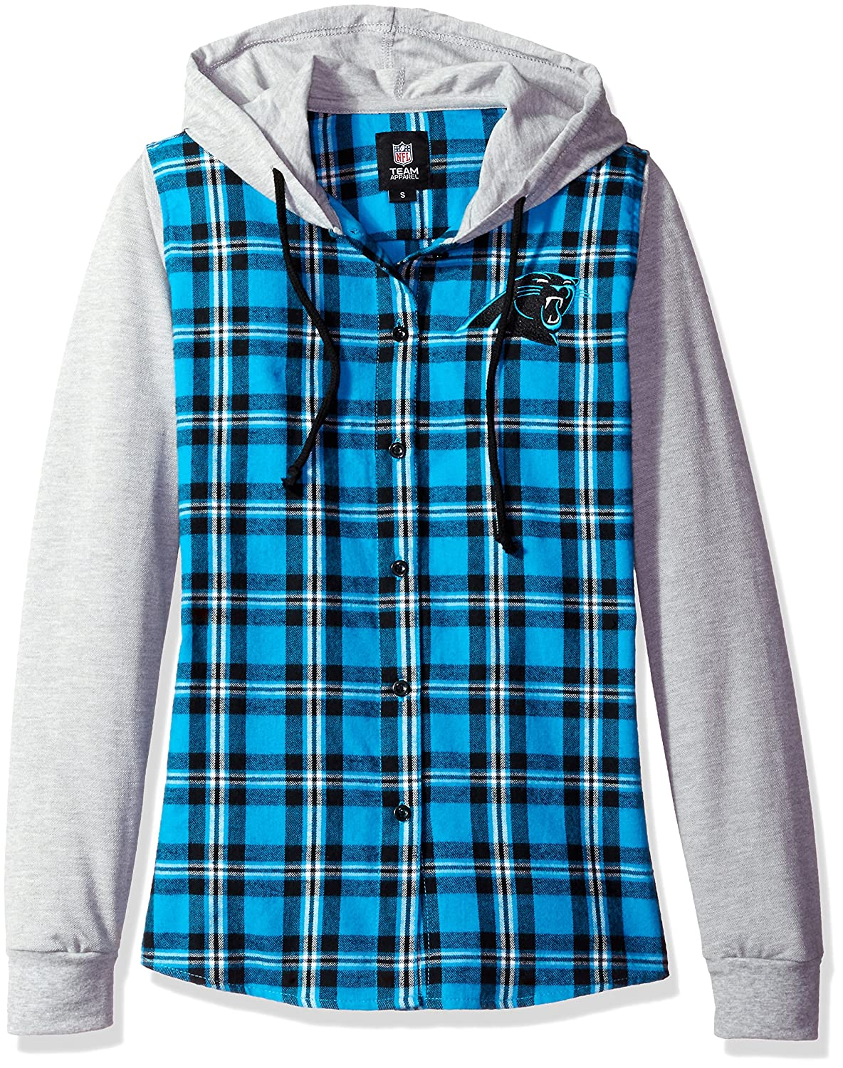 Carolina Panthers Lightweight Flannel Hooded Jacket Womens Small