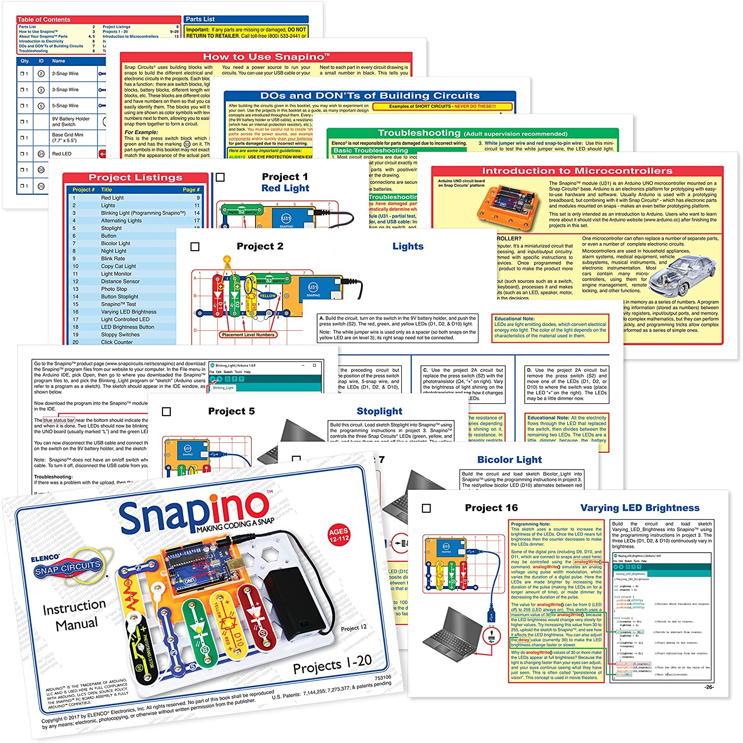 Snap Circuits Sc Snapino Making Coding A Arduino Compatible Electronics Learning Hall Of Toys Microcontroller Kits Amazon Canada