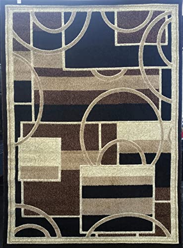 Americana Modern Area Rug Contemporary Brown Design 115 8ft.x10ft6in.