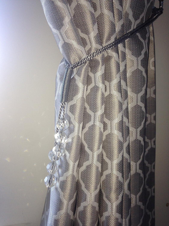 Alan Symonds Zar Seil und Kristalle Effekt Perlen Vorhang Raffhalter silber Paar Vorhang Hold