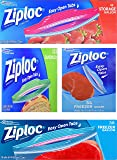 Ziploc Variety Pack – 54 Freezer Quart Bags – 38 Freezer Gallon Bags – 125 Sandwich Bags – 52 Storage Gallon Bags