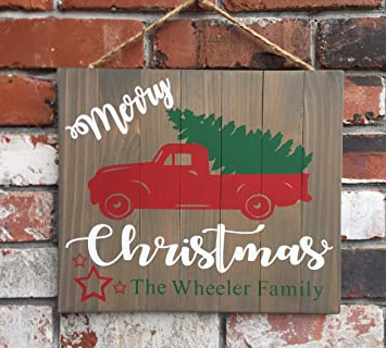 christmas sign personalized family name merry christmas wood sign red truck christmas tree farm wooden signs - Christmas Wooden Signs