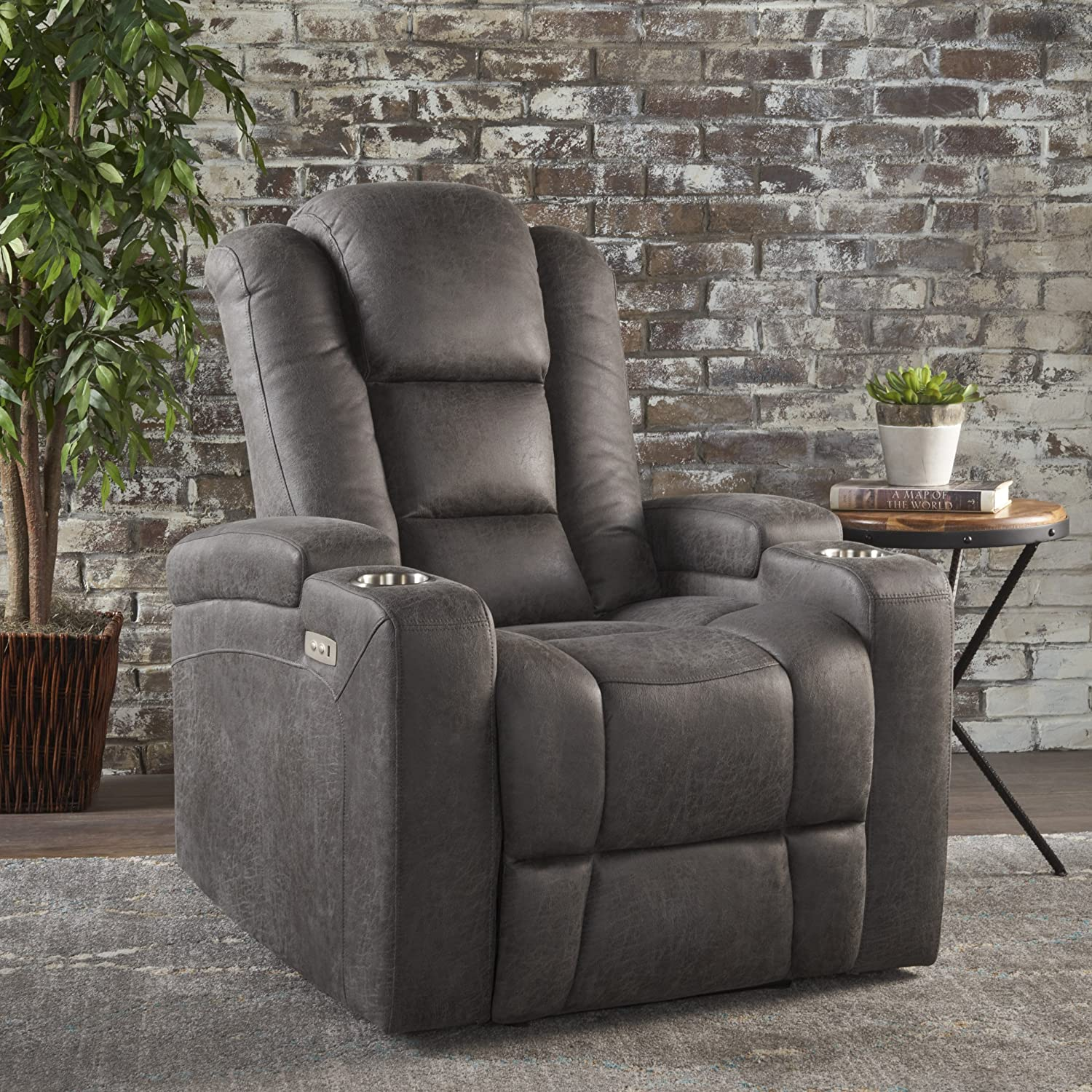 Stupendous Christopher Knight Home Everette Power Motion Recliner Slate Pdpeps Interior Chair Design Pdpepsorg
