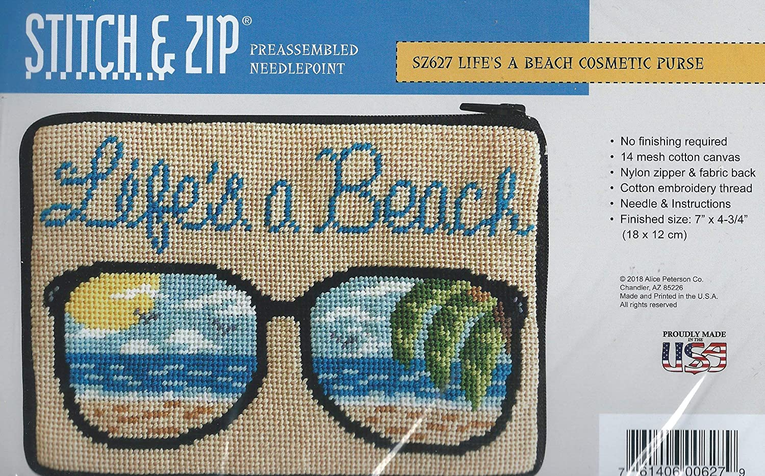 3d2a11c3604 Amazon.com  Stitch   Zip Needlepoint Cosmetic Purse Kit- Life s a Beach