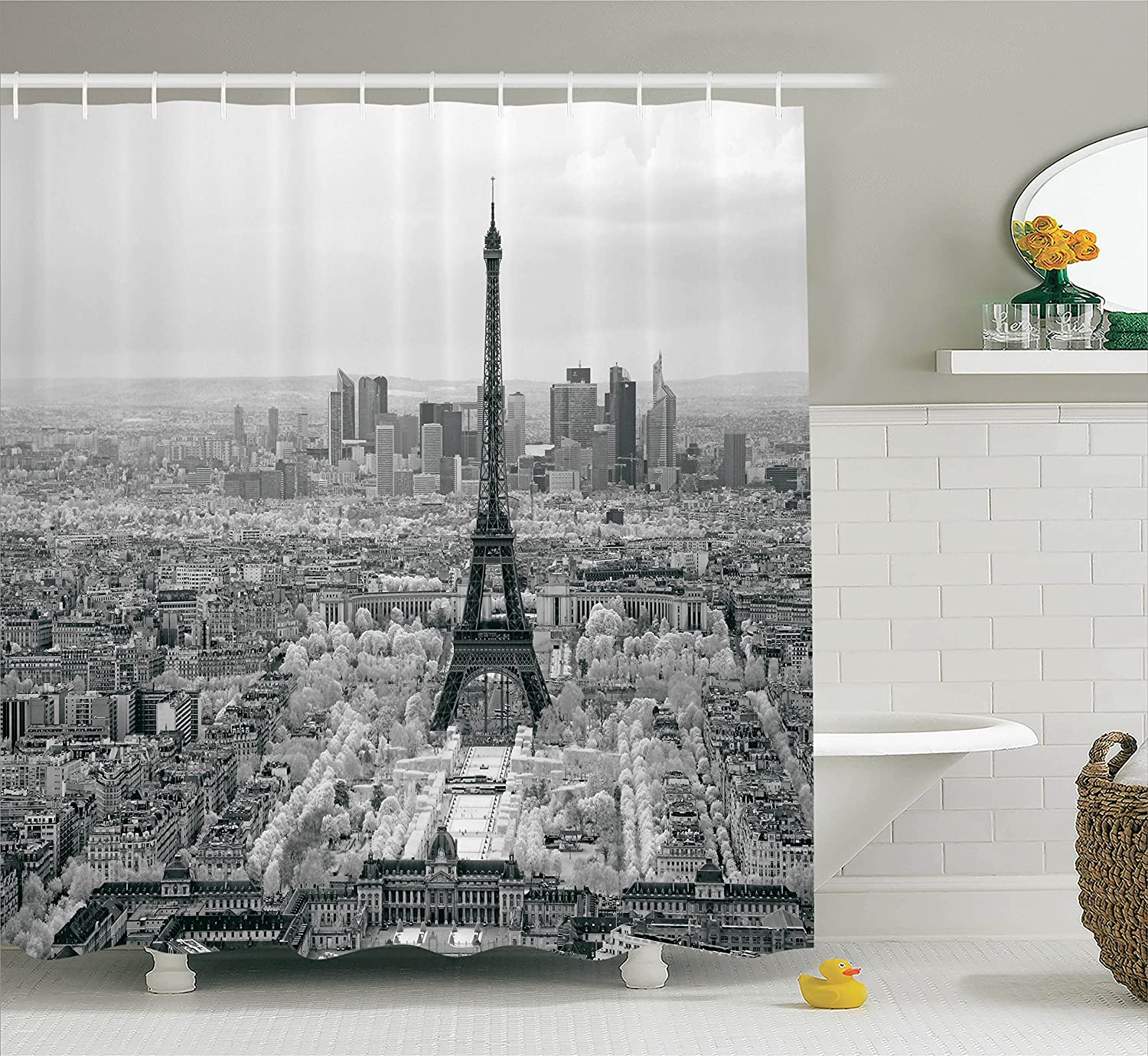 Ambesonne Eiffel Tower Decor Collection, The Eiffel Tower Paris City Structure Morning Scenic Monochrome Classic Simple Art, Polyester Fabric Bathroom Shower Curtain, 75 Inches Long, Gray