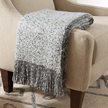 Stone & Beam Oversized Stripe Brushed Weave Throw Blanket, 60  x 80 , Grey / White