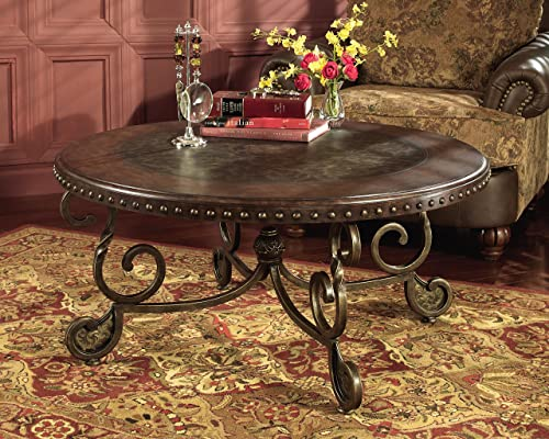 Signature Design by Ashley – Rafferty Traditional Round Coffee Table, Dark Brown