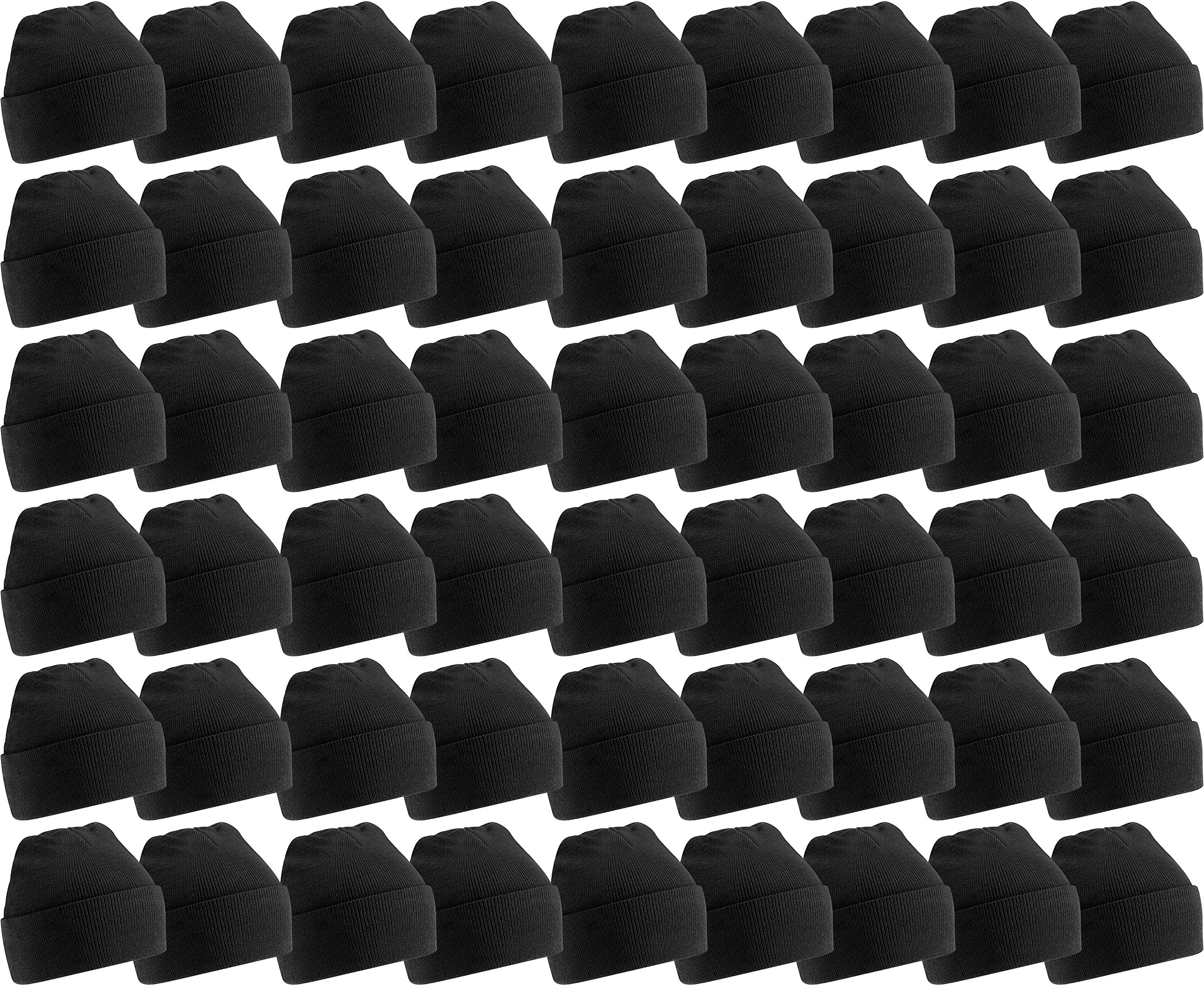Yacht & Smith Mens Womens Warm Winter Hats in Assorted Colors, Mens Womens Unisex (60 Pack Black A) by Yacht & Smith