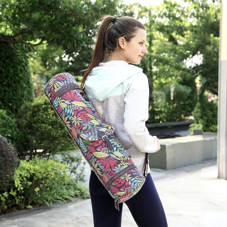 BAGTECH Bolsa de Yoga Bolsa de Transporte para Esterilla de Yoga y Accesorios Lona Cremalleras Lisas Correa Ajustable Bolsillos Grandes de Almacenamiento Funcional