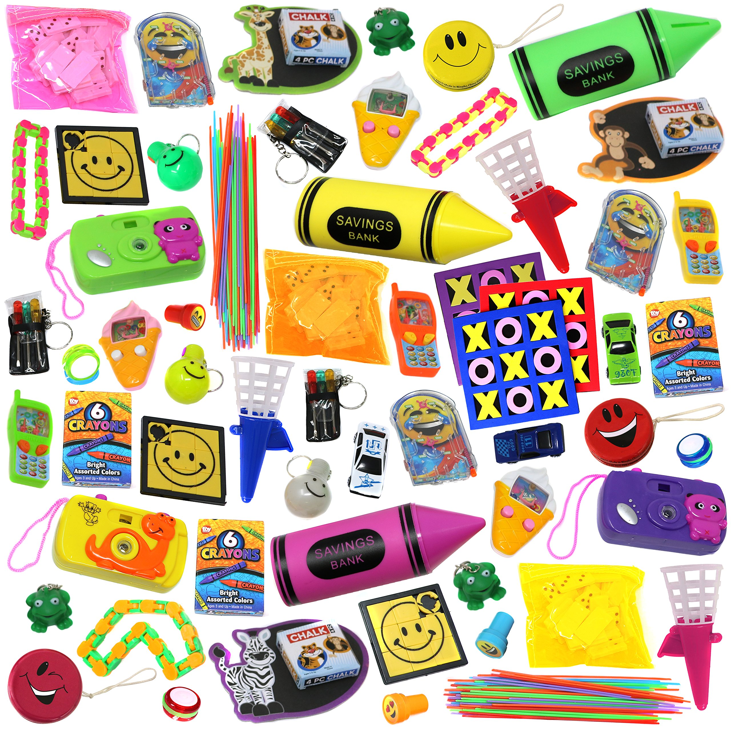Smart Novelty Jumbo Party Favors Pack of Exciting Toys, Prizes and small games beloved by Kids. Great for Party Giveaways, School Classroom Rewards and Carnival Events (Made and EXCLUSIVELY sold