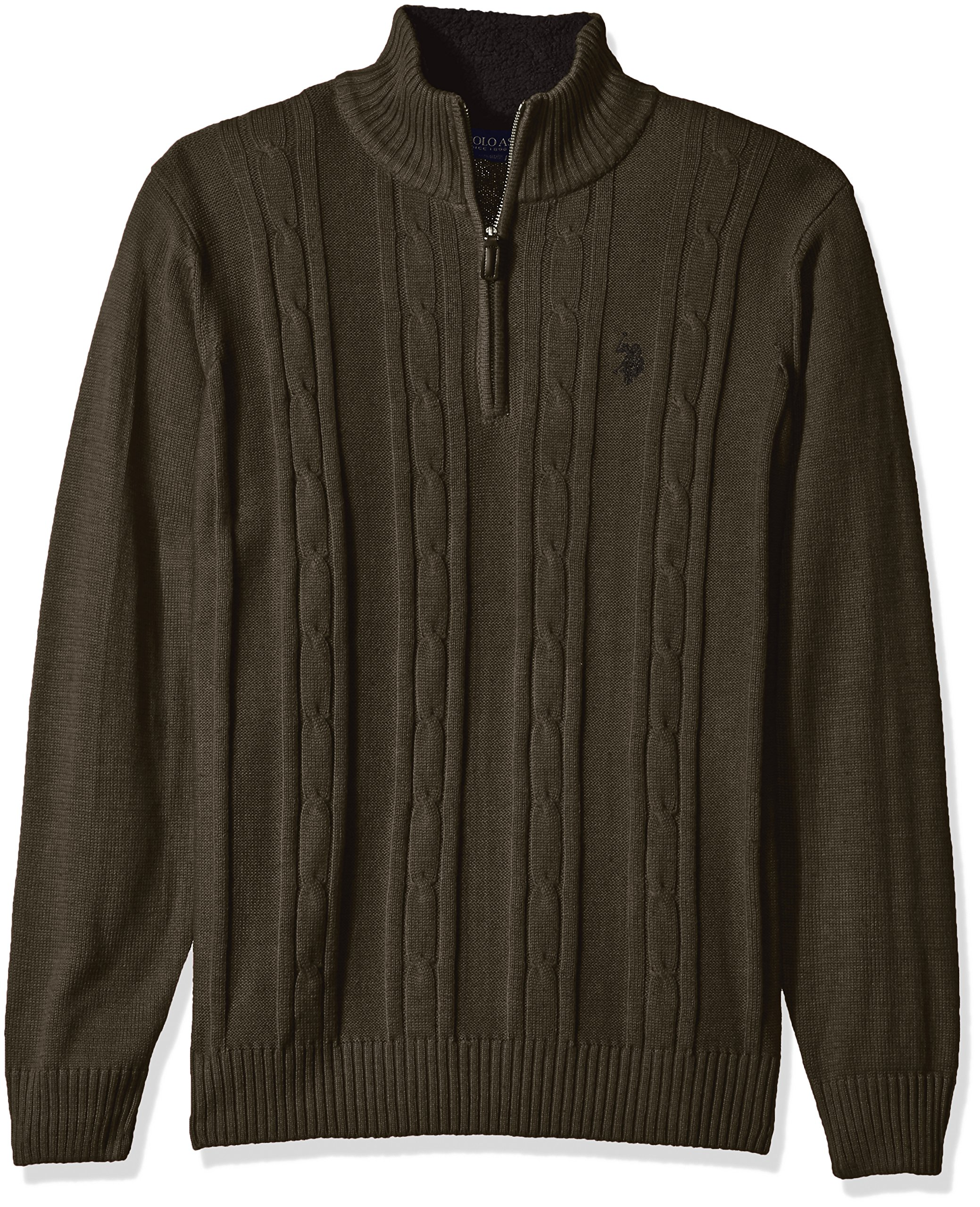 U.S. Polo Assn. Men's Solid Cable 1/4 Zip Sweater, Parsley Heather, Small by U.S. Polo Assn.