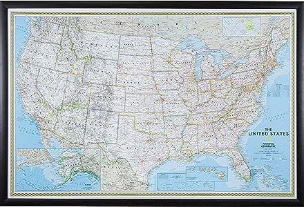 Craig Frames Wayfarer, Classic United States Push Pin Travel Map, Brazilian Walnut frame and Pins, 24 by 36-Inch (Renewed)