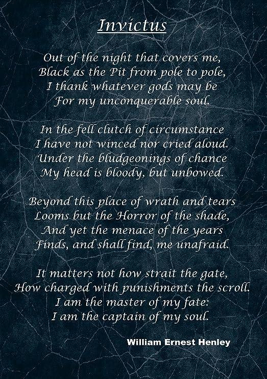 Invictus Inspirational Motivational Poem Print Sign Poster William Ernest Henley